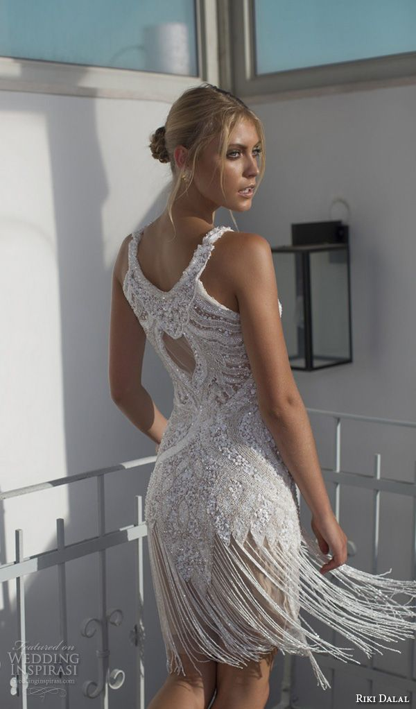 riki dalal 2015 valencia wedding dresses sleeveless jewel neckline beaded bodice fringe short wedding dress skirt back