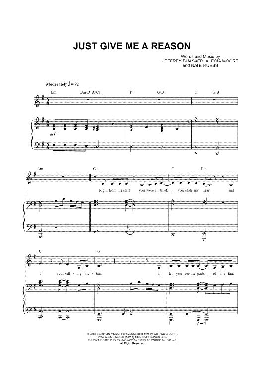 Just Give Me A Reason Sheet Music: www.onlinesheetmusic.com