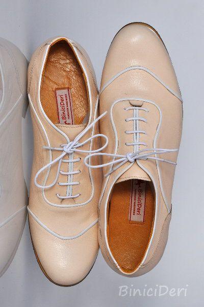 Men's Oxford tango shoe - Beige & White