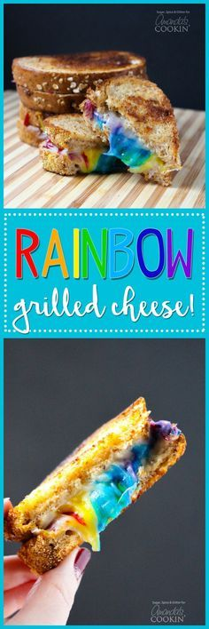 RAINBOW GRILLED CHEESE! Who says you shouldn't play with your food? Make some fun food this St. Patrick's Day with this rainbow grilled cheese! Fun food for springtime!