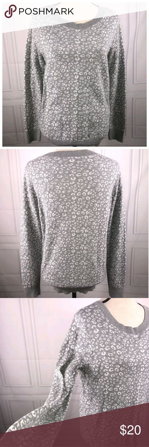 Ann Taylor Loft Factory Medium Sweater Ann Taylor Loft Factory Medium Gray White Animal Print Long Sleeve Sweater  See pictures for additional details.  Very good used condition  See pictures for flaws (if any), fabric content, cleaning instructions and measurements.  Pictures were taken in a smoke-free, pet friendly environment away from the pets.  Thank you for looking at my store! LOFT Sweaters Crew & Scoop Necks