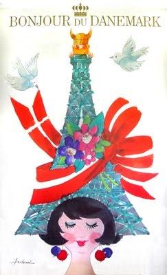 Hello Denmark. Femme De Montmartre: Danish Vintage Poster by Danish artist Ib Antoni (1929-1973)