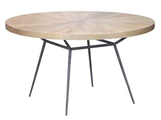 "Frank Dining Table 48 - Hand-hammered Iron Base w/Veneer Wood Top - oly studio  48""Diameter x 30""H"