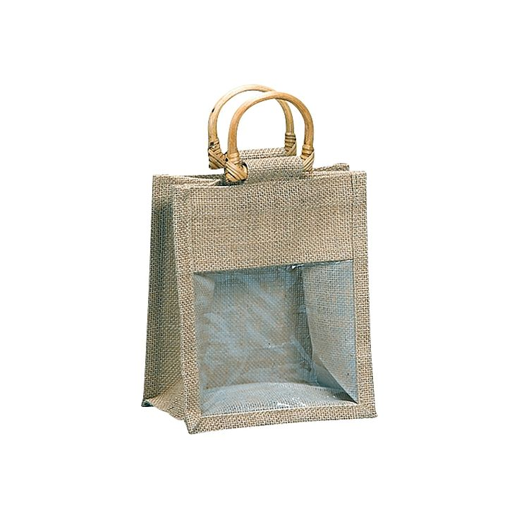 With round bamboo handles and a clear poly window this Jute bag is perfect for showing off your products in style. These bags come with a side and bottom gusset.