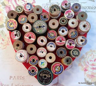 Quilted Cupcake: Quilted Cupcake Vintage Spool Heart Tutorial