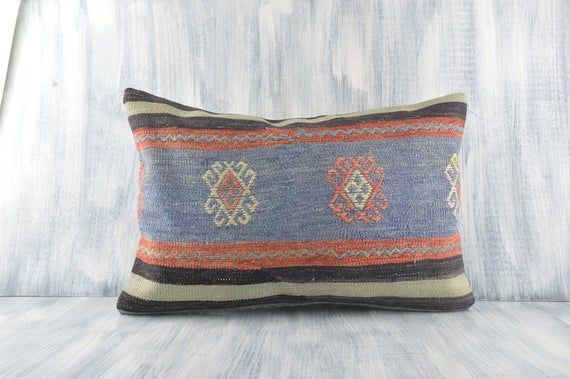 Embroidered Kilim Pillow, 16x24 Pillow