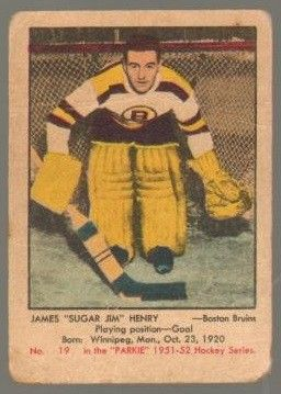 Sports Card: #19 Jim Henry (1951-1952) - Parkhurst Products Ice Hockey card. New on http://colnect.com/sports_cards