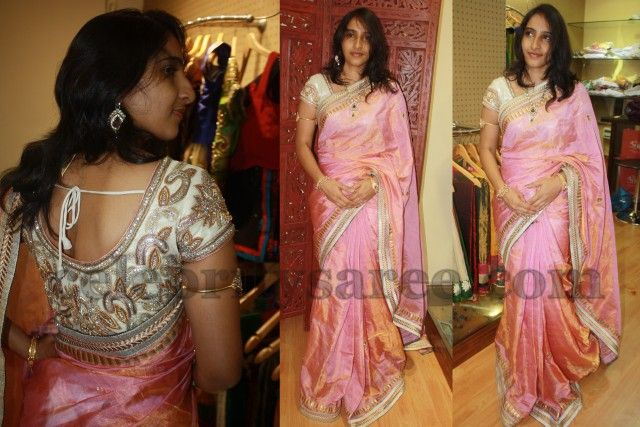 Peach Tissue Saree with Designer Blouse | Saree Blouse Patterns