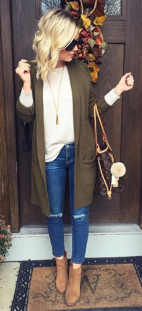 White tee + olive completer pieces + distressed jeans + brown booties