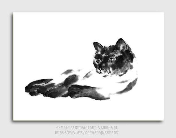 Art de chat chat noir peinture chat dekor art abstrait sumi-e art japonais peinture asiatique dessin à l'encre noir et blanc décoration mura
