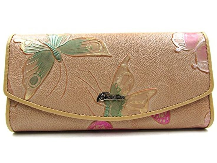 ArtsEye Genuine Leather Butterfly Embossed Trifold Wallet Clutch Purse