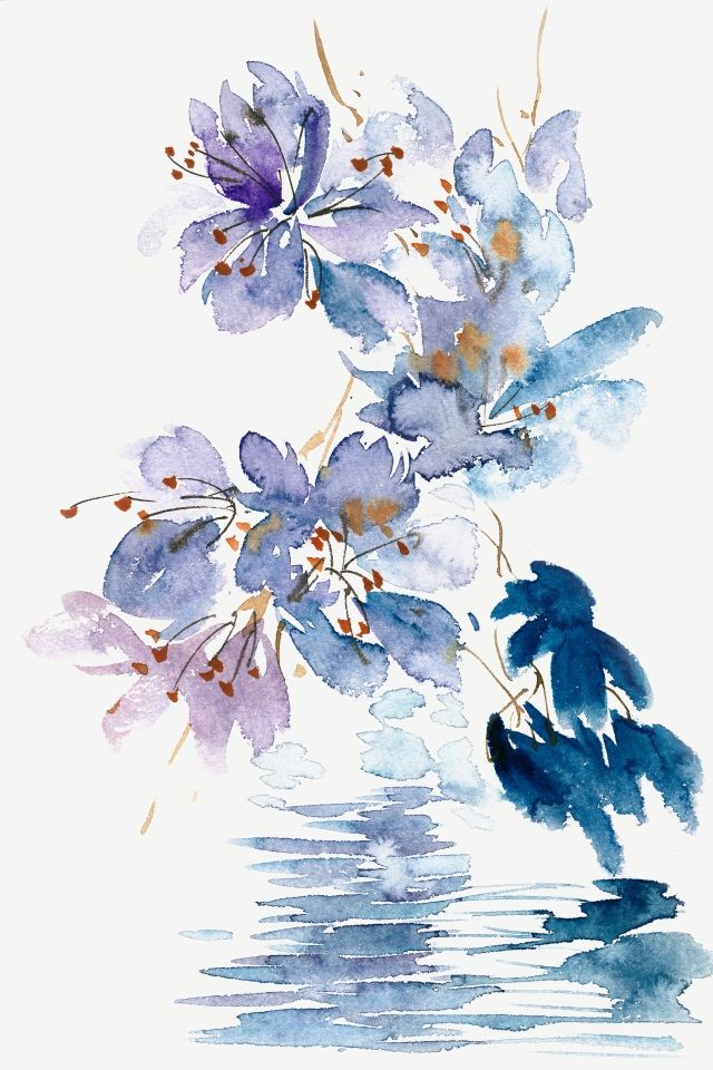 Watercolor Transparent Hand Painted Flowers Elegant Blue