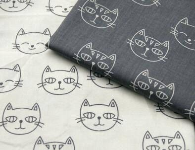 Modern monochrome 100% Cotton Fabric with multi sketched cat