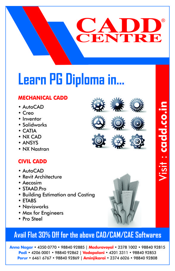 Avail Flat 30% Off on PG Diploma Courses for Mechanical & Civil Students exclusively @ CADD Centre. #CADDCentre #MechanicalCAD #CivilCAD #CAD #CAM #CAE #CivilEngineering #MechanicalEngineering