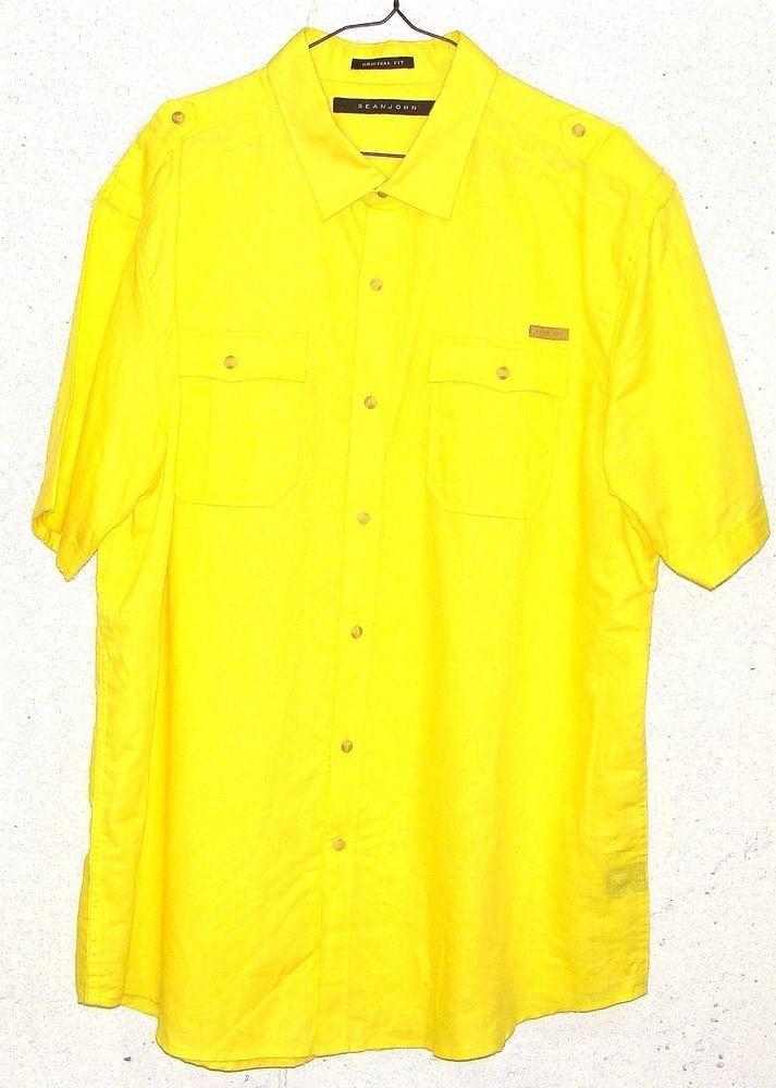 Sean John Mens Fluorescent Yellow Linen Cotton Short