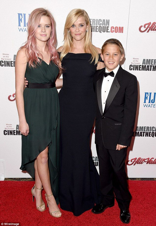 Pride and joy: Reese was accompanied by her lookalike daughter Ava Elizabeth Phillippe, aged 16, and 13-year-old son Deacon Reese Phillippe