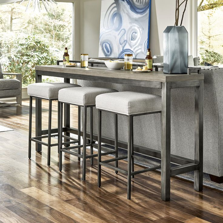 Curated mitchell console w three stools high top table