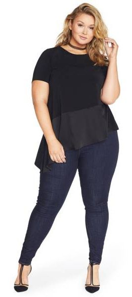 Plus Size Asymmetrical Hem Crepe Top