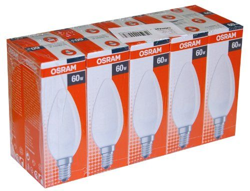 Osram Pack de 10 ampoules à incandescence bougie/flamme opaques/mates – Culot E14 – 60W: 10x ampoules 60W mates Osram Puissance : 60W.…