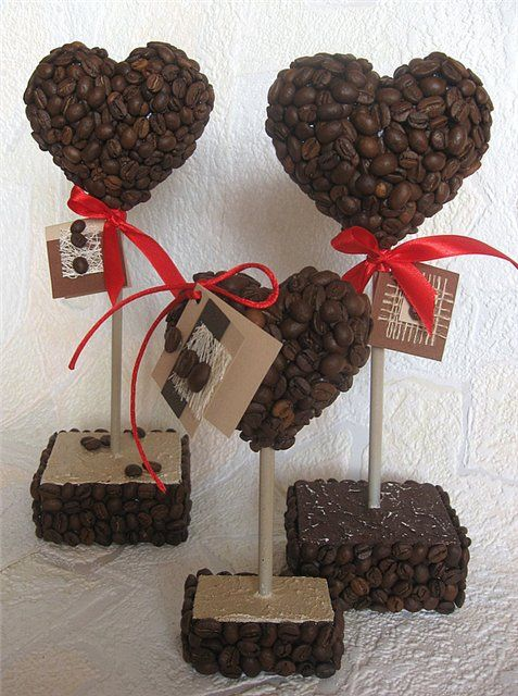 сердце из кофе