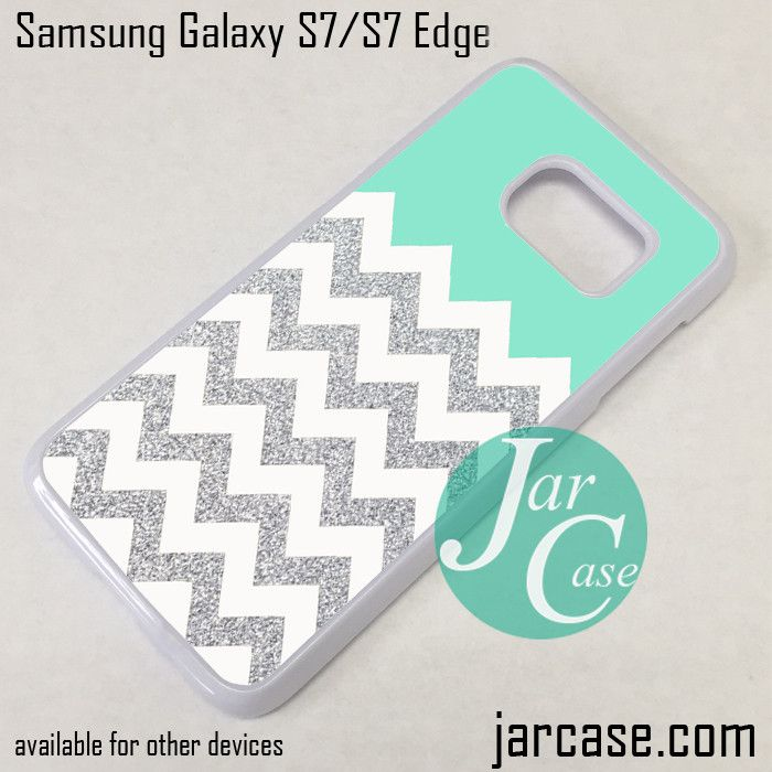 Blue Silver Glitter Chevron Phone Case for Samsung Galaxy S7 & S7 Edge