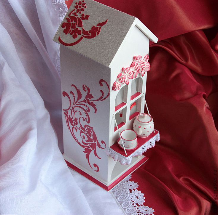 """Купить Чайный домик """"Бело-красная элегия"""" - чайный домик, для чайных пакетиков"""