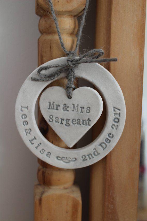 Wedding customised bespoke keep-sake, personalised clay gift, decoration, gift for newlyweds, shabby chic, wife husband
