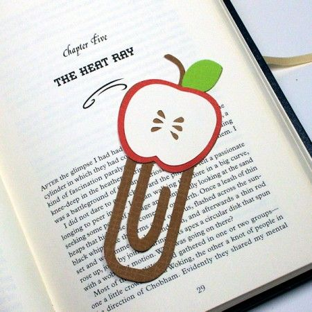 giant DIY bookmark    i probably wouldn't do an apple though...