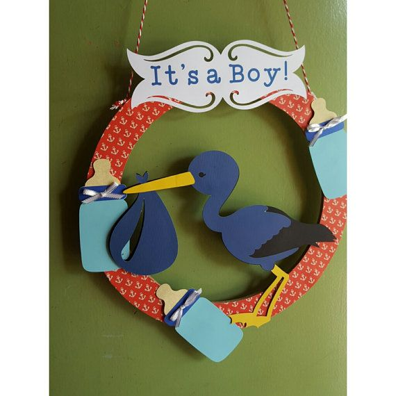 Baby wreath cartel puerta de hospital It's a boy por colorypapel68