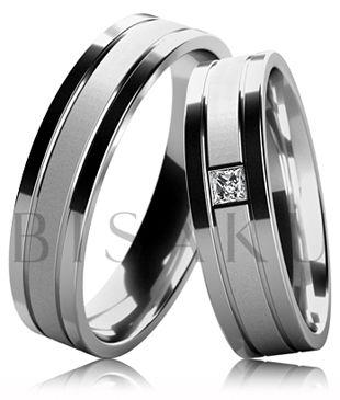 B20 Snubní prsteny z bílého zlata se saténově matným středem a lesklými okraji. Dámský prsten zdobený kamenem. #bisaku #wedding #rings #engagement #svatba #snubni #prsteny