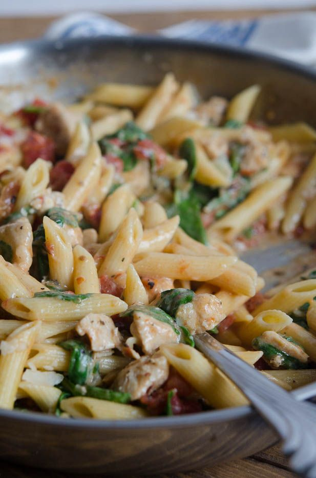 One-Pot Chicken Spinach Skillet Pasta - mmmm made this with 2 cups of base, added some marinara instead of tomatoes, and used a laughing cow garlic & herb cheese wedge instead of half and half. Good stuff! Hubbs even liked it, hurray!