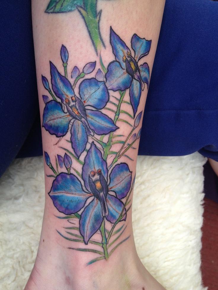 Larkspur tattoo July's flower, second flower done for my vine