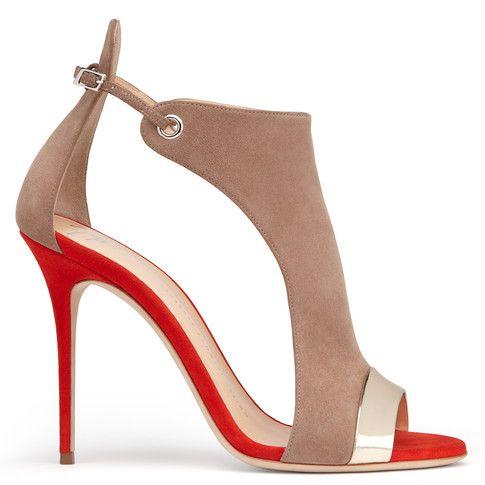 Sandales en daim beige et rouge