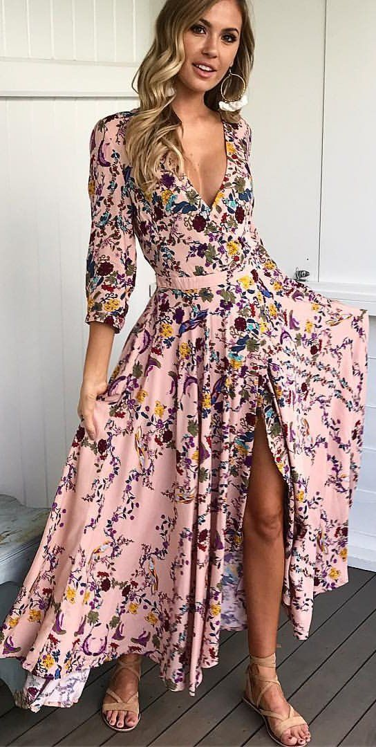 #summer #outfits Pink Floral Maxi Dress + Nude Sandals