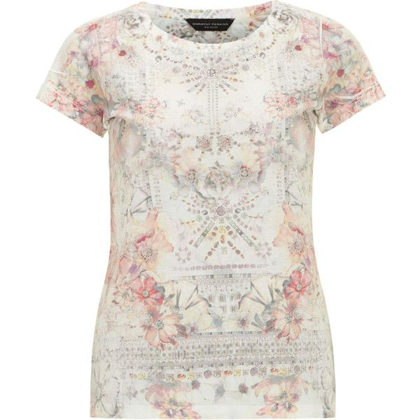 Dorothy Perkins Ivory mirror print tee (£8) ❤ liked on Polyvore featuring tops, t-shirts, multi colour, ivory tee, floral tee, short sleeve tee, floral print tops and floral print tee