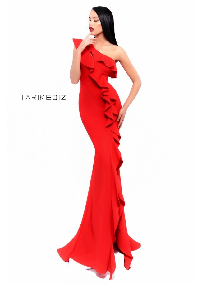 c8088a7b6ef Tarik Ediz- Spring Summer 2018 Evening Collection Style  93339 Red  One-Shoulder Mermaid-Cut Gown with Ruffle Detailing. Also available in  Black