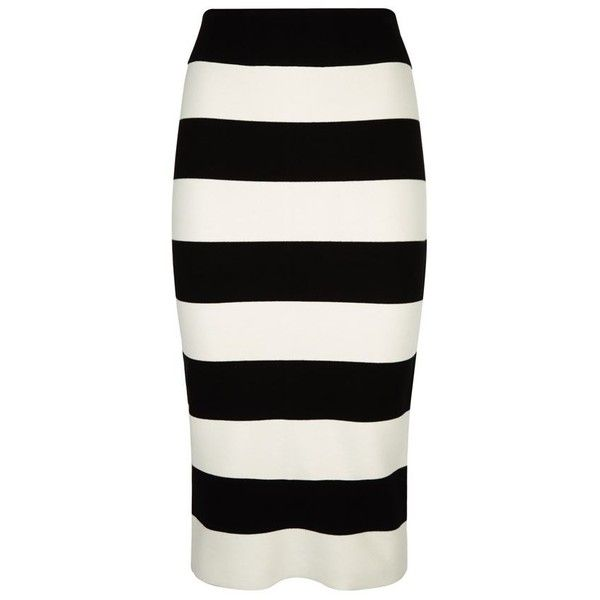 Milly Bodycon Stripe Midi Skirt (£230) ❤ liked on Polyvore featuring skirts, body con skirt, midi skirt, mid-calf skirt, striped bodycon skirt and black bodycon skirt