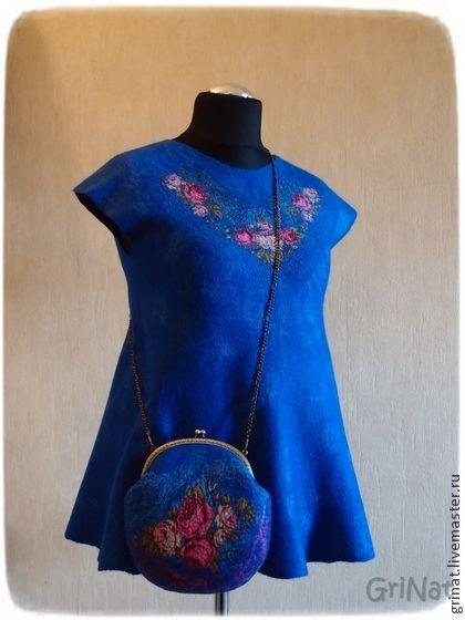 """Туника """"Восхищение"""" - синий,цветочный,туника валяная,платье туника,валяние из шерсти"""