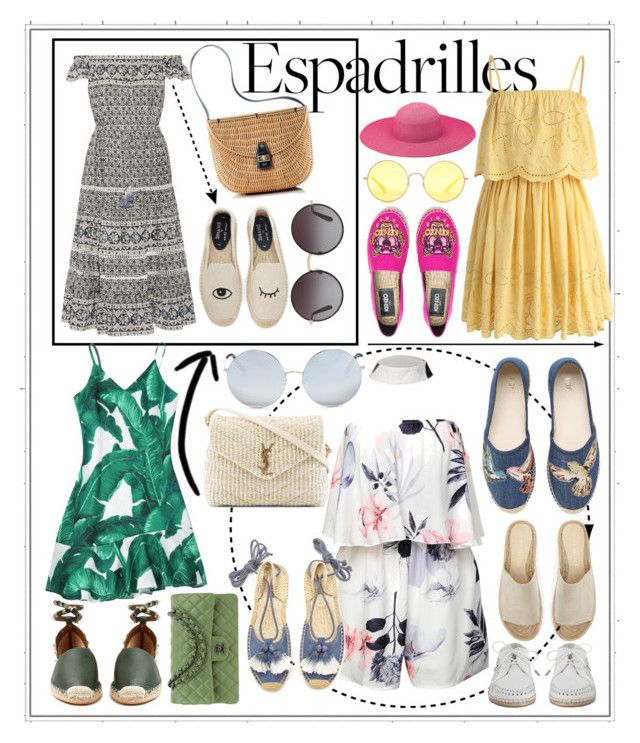 """""""summer espadrilles"""" by mileyharbee on Polyvore featuring Soludos, Sea, New York, Mark & Graham, Chicwish, Dolce&Gabbana, Kenzo, Peter Grimm, Ray-Ban, Valentino and Chanel"""