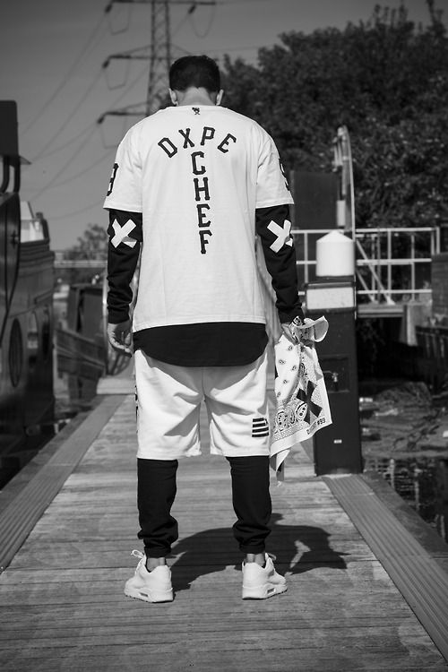DXPE. Chef. Black & White. Youth. New. Fashion. Men. Clothing. No Box. Nike Max Air. Typography. XX. Attitude. Street Style. Clean. Simple. Layers. Shorts. Sneakers.