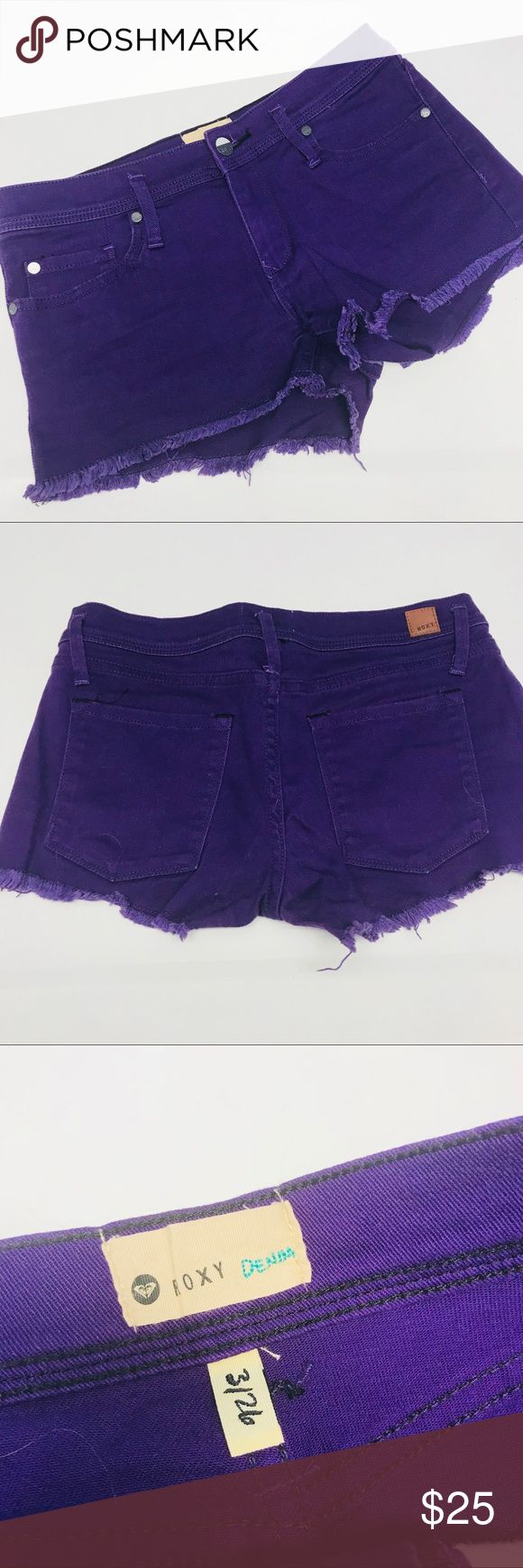 🌿ROXY🌿 purple jean shorts size 3 EUC purple shorts shorts by Roxy. Worn maybe 3 times. 🌻waist measures 26 inches  🌻intentionally fraying on hem  🌿no trades🌿 🌿bundle for 10% off🌿 Roxy Shorts