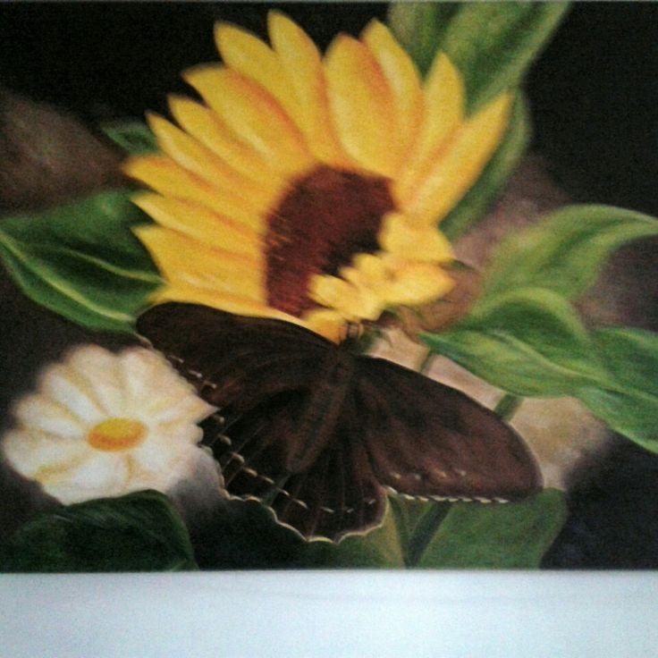 La Mariposa  pintado al oleo