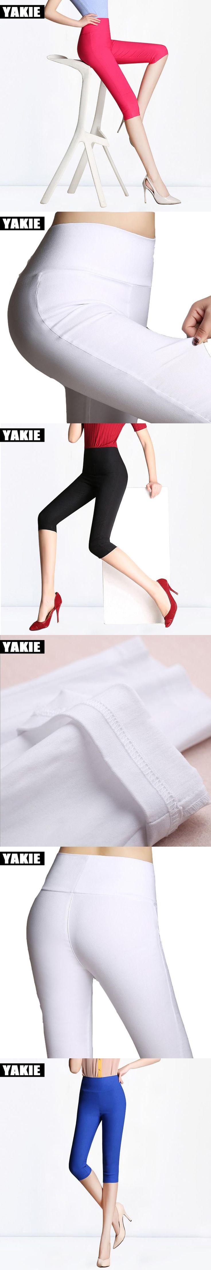 Candy color New Fashion 2017 Summer Plus Size 6XL White Pencil Pants capris Ladies Cotton High Waist Elastic female Trousers