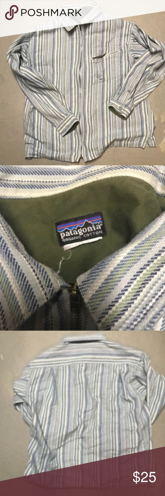 Blue and white striped men's zip up shirt This shirt is pretty thick, more like a jacket. It is extremely warm. It is a men's size large, but can fit a woman in xl-xxl. Patagonia Shirts Sweatshirts & Hoodies