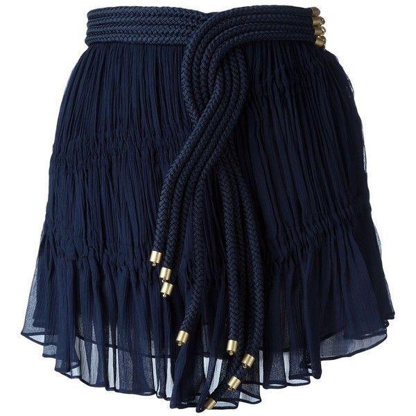 Jay Ahr Rope Detail Mini Skirt (12.904.685 IDR) ❤ liked on Polyvore featuring skirts, mini skirts, blue, short mini skirts, jay ahr, blue skirt, short skirts and mini skirt