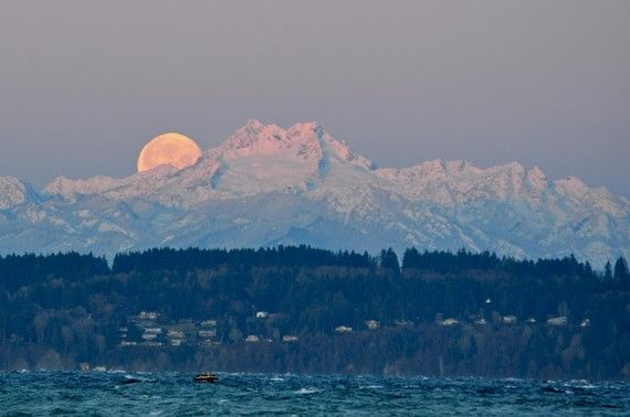 Full Moon Sunrise with the Olympic Mountains Photograph 8x10. $20.00, via Etsy.