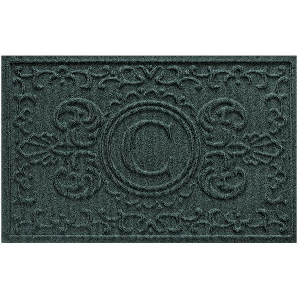 Bungalow Flooring Evergreen Aqua Shield Baroque Monogram Doormat ($40) ❤ liked on Polyvore featuring home, outdoors, outdoor decor, personalized welcome mats, outdoor door mats, monogram welcome mat, outdoor mat and outside door mats