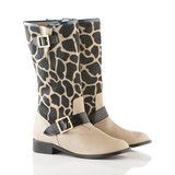 Biker Boot in Cappuccino/Black Giraffe Print Calf Hair, Black Leather | Vancliffe Dean