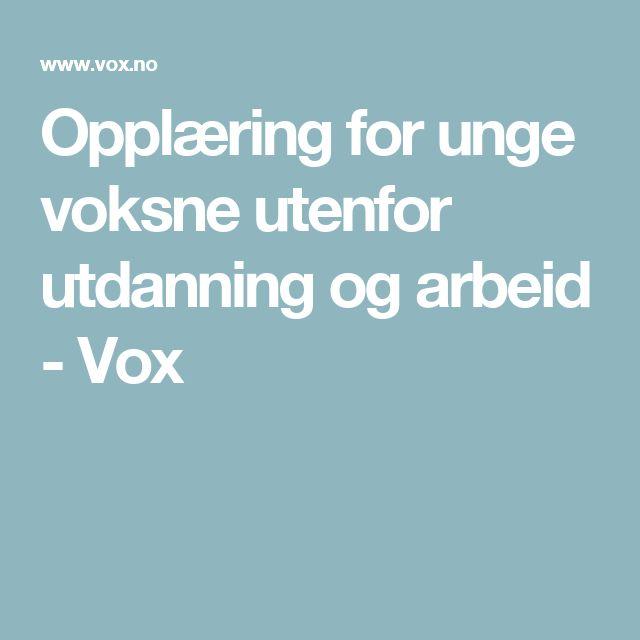Opplæring for unge voksne utenfor utdanning og arbeid - Vox