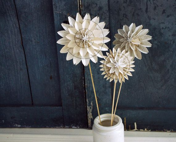 Book Blossom, Paper Dahlia, Train - Freight Book Pages, Paper Wedding  Anniversary, Three Blossom Bouquet
